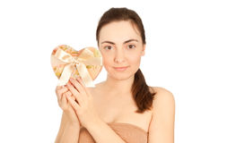 Beautiful woman with gift box. Isolated on white Stock Image