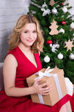Beautiful woman with gift box and Christmas tree. Young beautiful woman with gift box and Christmas tree Royalty Free Stock Photos