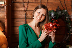 Beautiful woman with gift Stock Photo