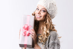 Beautiful woman with gift. Christmas and New Year Stock Photography