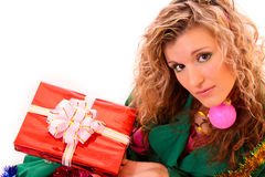 Beautiful woman and gift isolated Stock Photography