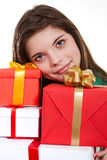 Beautiful woman with gifts Stock Photos