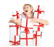A beautiful woman with gifts. Solated on a white background Royalty Free Stock Photos