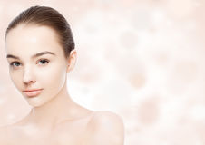 Beautiful woman girl natural makeup spa skin care Stock Image