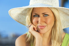 Beautiful Woman Girl Wearing Sun Hat Royalty Free Stock Image