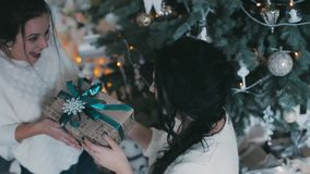 Beautiful woman gives a Christmas present to his girlfriend. Gives a gift near the Christmas tree stock video footage