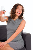 The beautiful woman gives a toast champagne Royalty Free Stock Photos