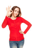 Beautiful woman giving okay sign Stock Photography