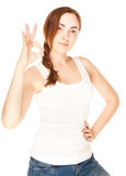 Beautiful woman giving okay sign Royalty Free Stock Photos