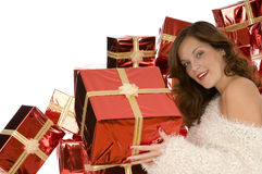 Beautiful woman giving a present Stock Images