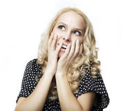 Beautiful woman giving surprised look Royalty Free Stock Image