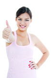 Beautiful Woman Giving Thumb Up Gesture Stock Photos
