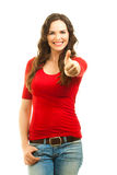Beautiful woman giving thumbs up Stock Image