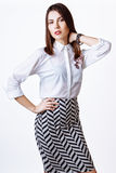 Beautiful woman glamor model business office fashion clothes wear casual style. Stock Image