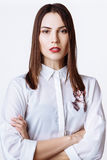 Beautiful woman glamor model business office fashion clothes wear casual style. Royalty Free Stock Photography