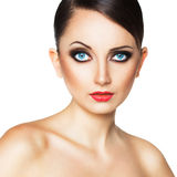Beautiful woman with a glamorous retro makeup Stock Photography