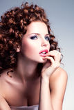 Beautiful woman with glamour makeup and stylish hairstyle. Royalty Free Stock Photography