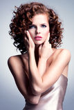 Beautiful woman with glamour makeup and stylish hairstyle. Royalty Free Stock Photos