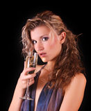 Beautiful woman with a glass of champagne Royalty Free Stock Photos