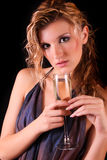 Beautiful woman with a glass of champagne Royalty Free Stock Photography