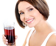 Beautiful woman with glass of juice Stock Photo