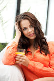 Beautiful woman with glass of juice Stock Photography