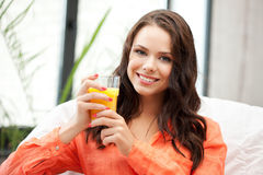 Beautiful woman with glass of juice Stock Image