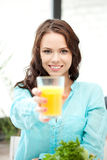 Beautiful woman with glass of juice Royalty Free Stock Photo