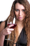 Beautiful woman with glass of red Royalty Free Stock Photography