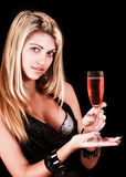 Beautiful woman with a glass of red wine Stock Photography