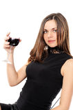 Beautiful woman with glass red wine Stock Image