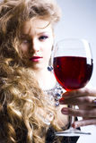 Beautiful woman with glass red wine Royalty Free Stock Photography