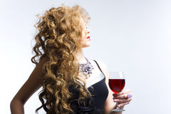 Beautiful woman with glass red wine Stock Photo