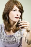 Beautiful woman with glass red wine Royalty Free Stock Photos