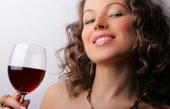 Beautiful woman with glass red wine Royalty Free Stock Photo