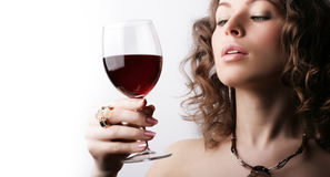 Beautiful woman with glass red wine Royalty Free Stock Image