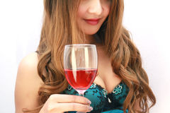 Beautiful woman with glass red wine. Asia woman with glass red wine Royalty Free Stock Images