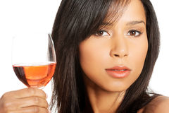 Beautiful woman with glass of rose wine Stock Photos