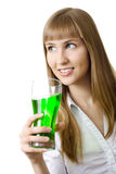 Beautiful woman  glass soda smiling isolated Royalty Free Stock Photography