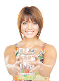 Beautiful woman with glass of water Royalty Free Stock Photography