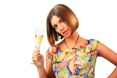 Beautiful woman with glass white wine Royalty Free Stock Photography