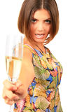 Beautiful woman with glass white wine Royalty Free Stock Photos