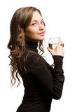 Beautiful woman with glass of wine. Stock Image