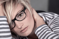 Beautiful woman with glasses close up Royalty Free Stock Photo