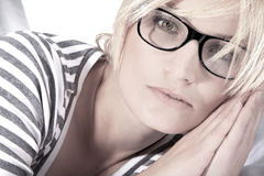Beautiful woman with glasses close up Stock Photography