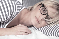 Beautiful woman with glasses close up Royalty Free Stock Photography