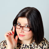 Beautiful woman in glasses. Royalty Free Stock Photo