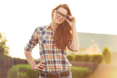 Beautiful woman in glasses Royalty Free Stock Photo