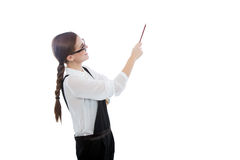 Beautiful woman with glasses pointing at copy space Stock Images