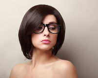Beautiful woman in glasses. Short black hair Royalty Free Stock Image